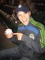 Uh oh, look who caught a foul ball!